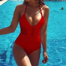 2018 women Swimwear Sexy Backless Halter One Piece Swimsuit Black White Red thong Bathing suit female Solid Beach Wear