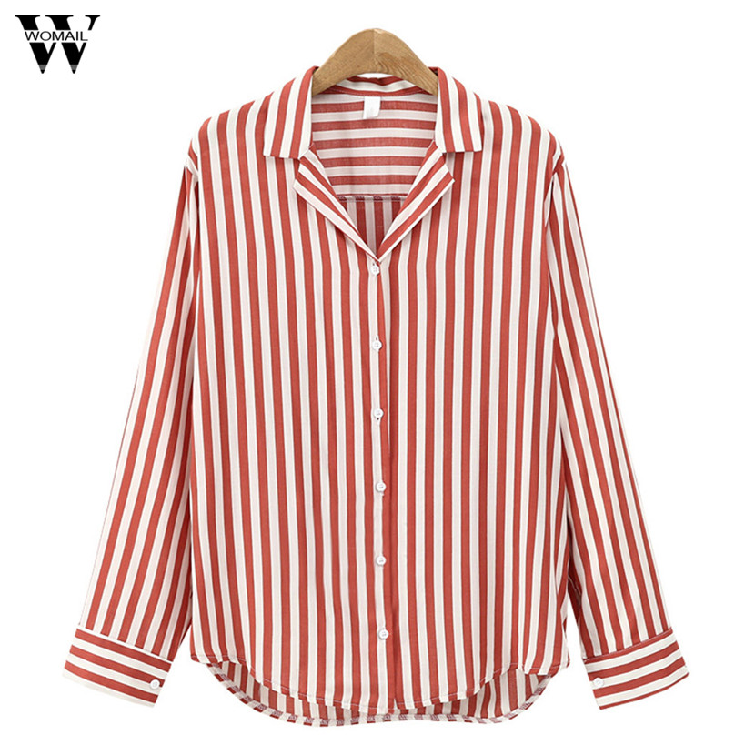WOMAIL 2018 Female Tops Elegant Causal Office Lady Style Striped Business Outwear Shirts Blouse Female Blusas Tops Gifts