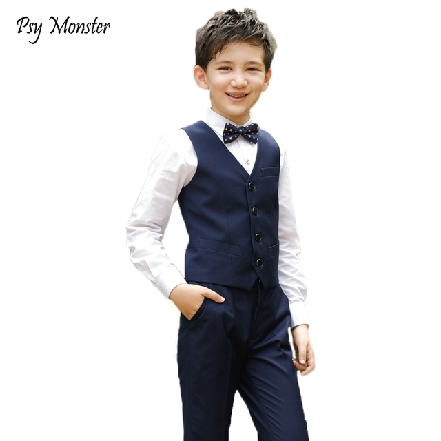 e77254bb41f51 Wedding Suit For Boys School Student Formal Dress Gentleman Kids Brand  Waistcoat Shirt Pants Bowtie 4Pcs