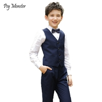 Wedding Suit For Boys School Student Formal Dress Gentleman Kids Brand Waistcoat Shirt Pants Bowtie 4Pcs ceremony Costumes