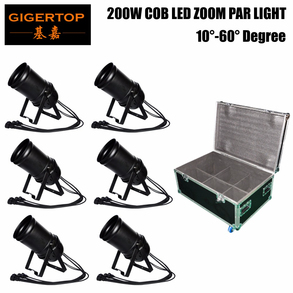 6IN1 Road Case Stackable Warm / Cold White COB Par DJ Lights- Cannon Zoom Can 64 LED Stage Lighting Uplight- DMX 512 Controlled
