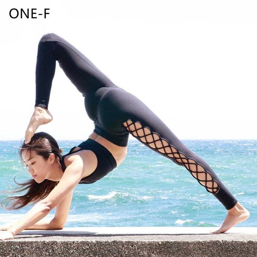 High Quality Chic Yoga Pants Women Sexy Side Crisscross Yoga Leggings Solid Interlace Fitness Gym Trousers  Sport Leggings