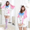 Anime Vocaloids V Miku Hatsune Bunny Rabbit Ear Pajamas Anime Cosplay Costume Adult Onesie Sleepwear Dress