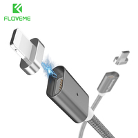 FLOVEME Magnetic USB Cable IOS Android Micro USB 2 In 1 Charger Cables For IPhone 7