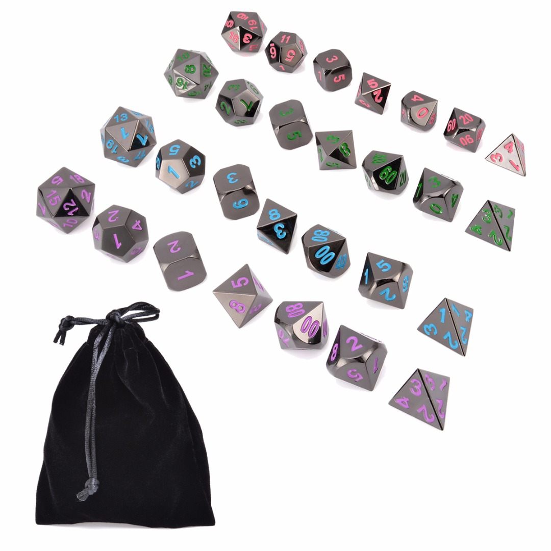 Hot 7Pcs Alloy Metal Polyhedral Dice Set Dungeons & Dragons MTG Role Playing Table Board Games Funny Family Party Outdoor Tools top quality 126pcs polyhedral dice set dragons dices dnd rpg mtg table games dice activity multi sided games dices 18 set