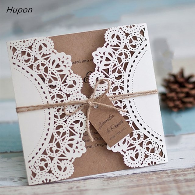50pcs laser cut wedding invitations cards tags vintage wedding bridal shower gift greeting card kits