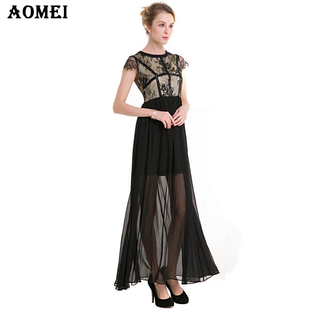 84f4276fb8 Women Lace Black Retro Maxi Dress Black Tulle Chiffon Women Elegant Plus  size 2019 Spring Summer Fashion New Robe Femme Tunics-in Dresses from  Women s ...