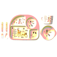 5Pcs/Set Cute Children Tableware Set Baby Bamboo Fiber Cartoon Bowl Set Cup Spoon Plate Baby Dishes for Kids children Feeding