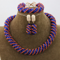 Unique Orange/Blue Mix Jewelry Beads Necklace Set Handmade Choker Costume Jewelry Set for Party Free Shipping HEB051