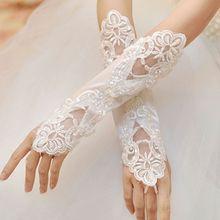 1 par de guantes largos de novia sin dedos bordados encaje lentejuelas Color sólido codo longitud manoplas gancho dedo nosotros