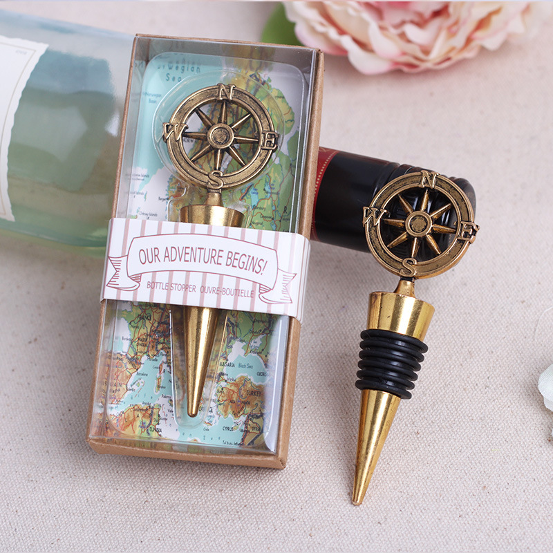 Free Shipping 50pcslot Nautical Theme Compass Wine Stopper Wedding