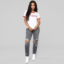 цена Global fashion personality hot seller grey ripped hip hop worn straight high-waisted casual women's jeans в интернет-магазинах