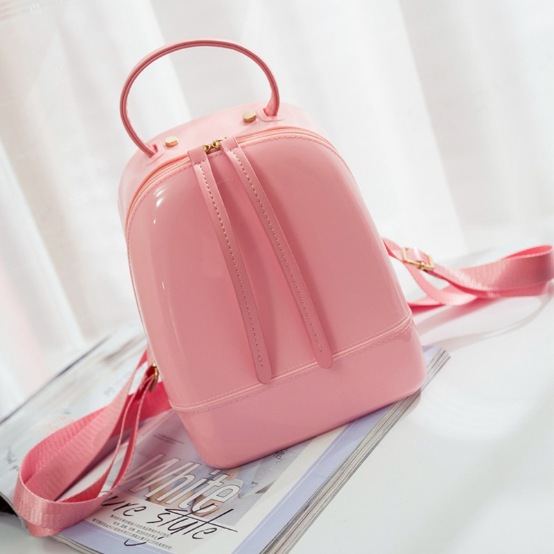 ФОТО Candy Color Summer Jelly Backpacks Waterproof PVC School Bags Plastic Silicone Women Shoulder Bags Backpack