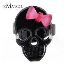 eManco Acrylic skull cute bow punk Elastic rings fashion women personalized Creative gift jewelry wholesale RG00006(China)