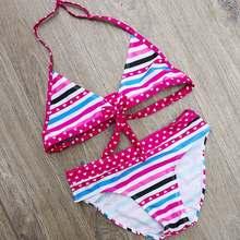 df533d3276 8-14 jahre Striped Teenager Mädchen Bikini Kinder Bademode Kinder Zwei Stück  Badeanzug Dot Print Schwimmen Anzug für Große mädch.