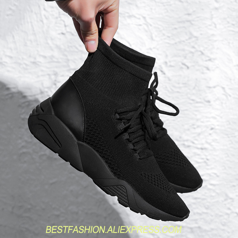 Luxury Black Sock Sneakers Fashion Brand Stretch Fabric Shoes Lace Up High Top Women Flats Shoes For Womens Platform Flat Heel cloth camouflage lace up hidden heel womens sneakers
