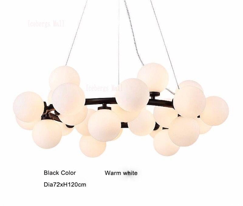 Magic Bean moderne LED suspension lustre lumières salon salle à manger G4 or/noir blanc verre lustre luminaires - 4