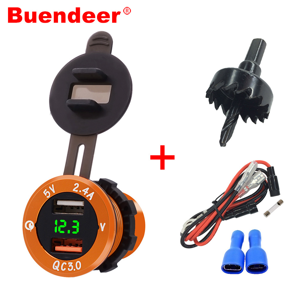 Buendeer Voltmeter Socket-Adapter Outlet Moto Power Dual-Usb-Charger QC3.0 for Car