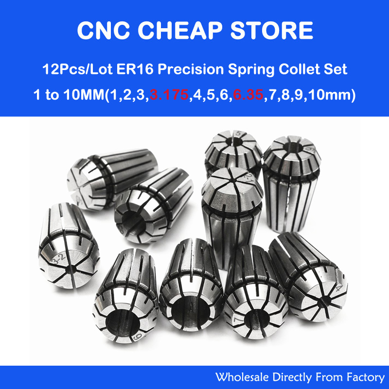 12Pcs/Lot ER16 Spring Collet Set For CNC Router Engraving Milling WoodWorking Machine Lathe Tool & Workholding 1-3.175-6.35-10mm