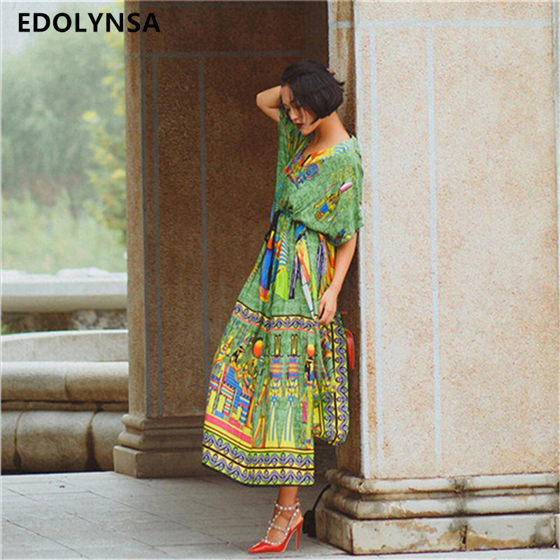 2017 Bohemian Beach Dress Kaftan Ethnic Cotton Rayon Maxi Dress Women Vintage V-neck Tunic Boho Casual Printed Long Dress #A172