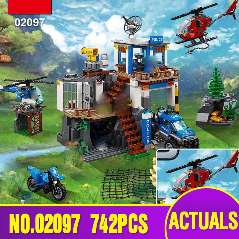 Lepin 02097 New 742Pcs City Series The Mountain Police Headquater Set 60174 Building Blocks Bricks Toys Model As Gifts For Kids 02020 lepin new city series the new police station set children educational model building blocks bricks diy toys kid gift 60141