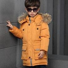 2016 boy winter coat long fur collar hooded  thick boy duck down winter coat children's clothing children duck down outerwear