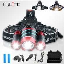 25000LM LED 3xT6 Headlamp Headlight Head Lamp lighting Light Flashlight Fishing Torch Lantern Waterproof Use 2x 18650