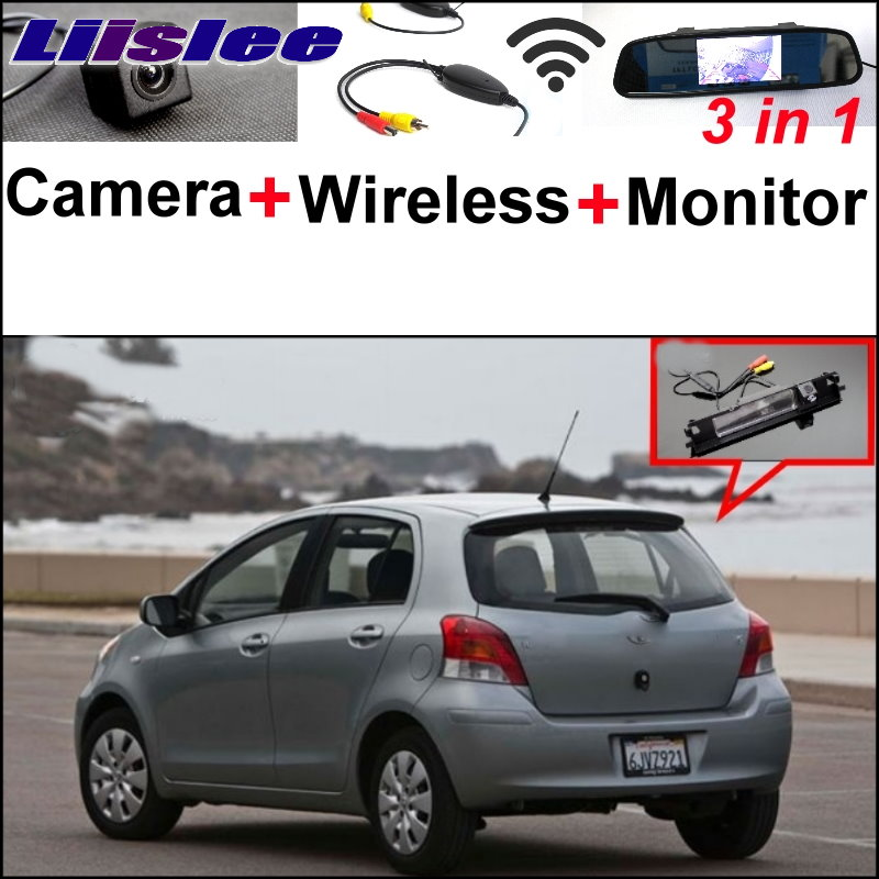 Liislee Special Rear View Camera+Wireless Receiver + Mirror Monitor Parking System For TOYOTA Yaris Vitz Hatchback MK2 2005~2013 3 in1 special rear view camera wireless receiver mirror monitor parking system for ford ecosport 2013 2015
