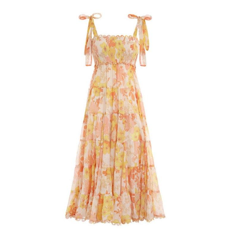 Floral impressão feminina vestido de praia para o mar com arco sem mangas cinta elástica cintura fora do ombro vestidos midi feminino verão 2019 - 3