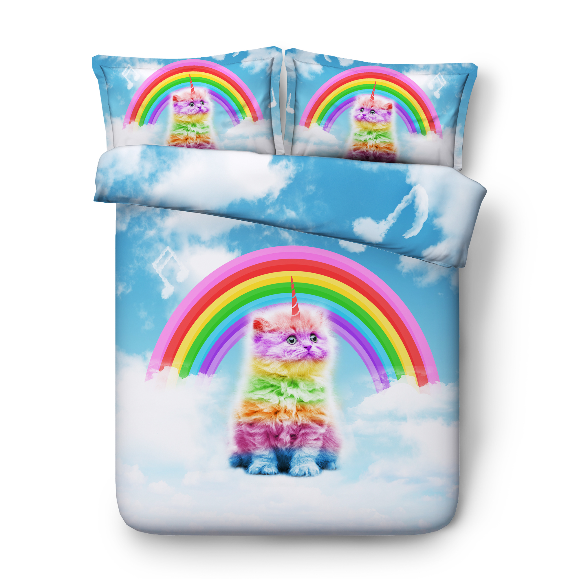 Cloud rainbow cat Digital print Bedding Set  Quilt Cover  Design Bed Set Bohemian a Mini Van Bedclothes 3pcs JF600Cloud rainbow cat Digital print Bedding Set  Quilt Cover  Design Bed Set Bohemian a Mini Van Bedclothes 3pcs JF600