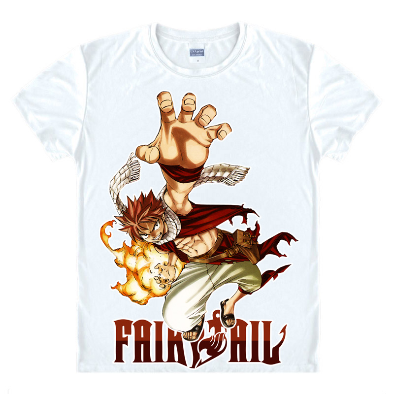 85a0227c9 Fairy Tail Anime Natsu Dragneel Short Sleeves Summer Casual Men's T-shirt  ...