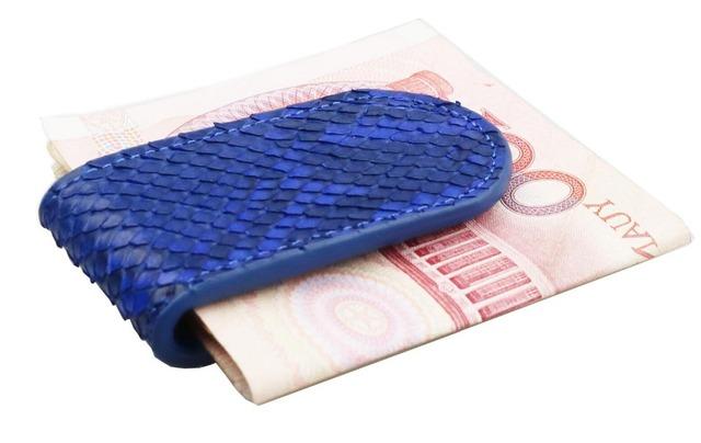 Clip de dinero de cuero de lujo de alta calidad de piel de pitón real
