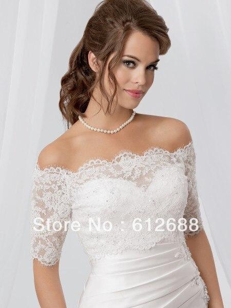 acfa9bd901c9 2016 New Fashion Half Sleeve Off the Shoulder Bridal Wedding Bolero Lace  Jacket Beading Back Customize