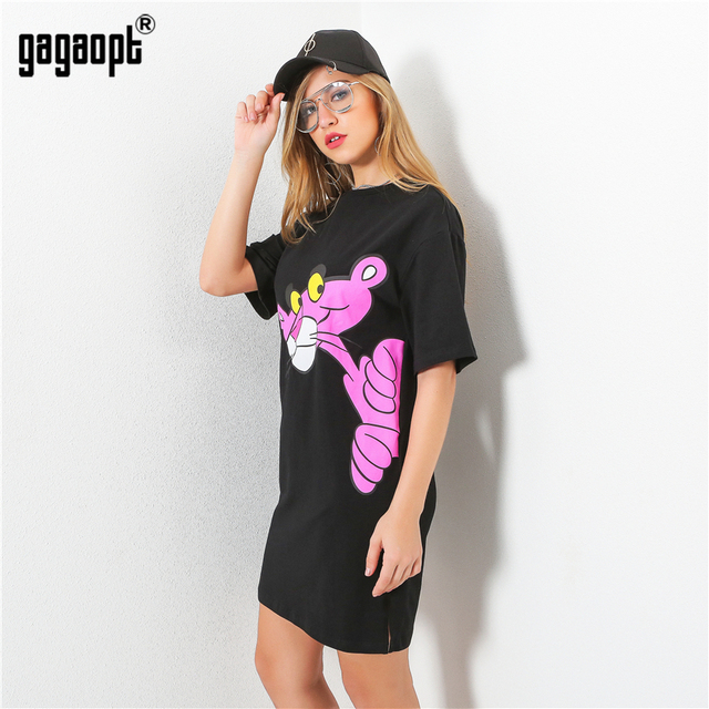 "Gagaopt 2017 Summer Dresses New Women Loose Casual O-neck Short Sleeve Mini Vestidos Print ""Pink Panther"" Cute Street Robe D2015"