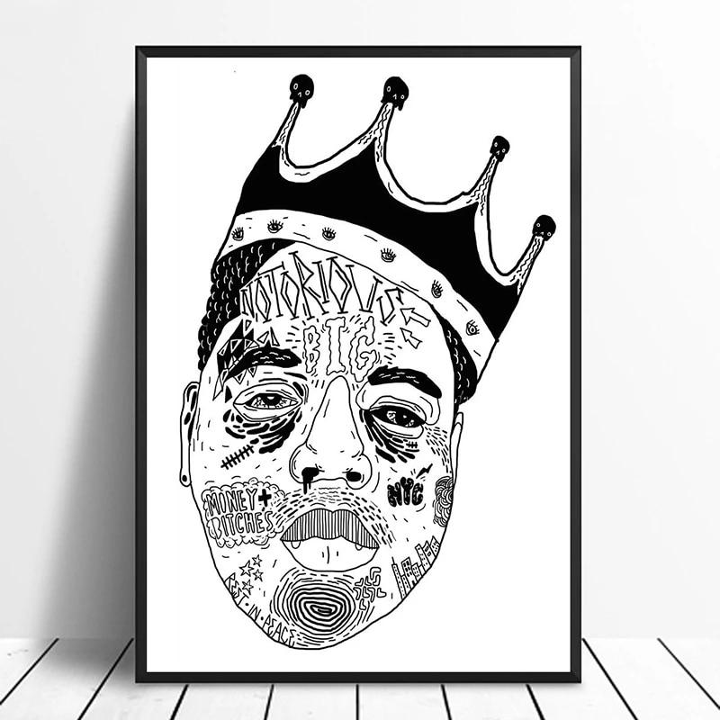 Biggie Black White Crown Hip Hop Rap Rock Singer Music Poster Home Decor Wall Decor Wall Art Canvas Painting Canvas Print Painting Calligraphy Aliexpress Og abel men's crown lion snapback hat black. www aliexpress com
