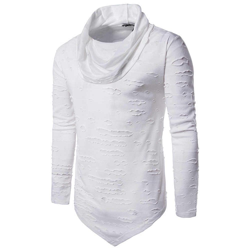 Helisopus модная мужская водолазка, повседневный топ с асимметричным подолом, Мужская футболка с длинным рукавом, Рваные дыры, уличная футболка для мужчин