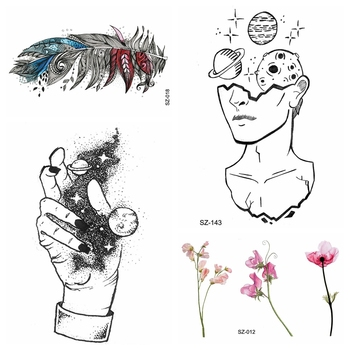 Creative Universe Hand Temporary Tattoo Sticker Women Arm Sexy Feather Flower Fake Tattoo Men Thinker Ankle DIY Waterproof Tatoo image