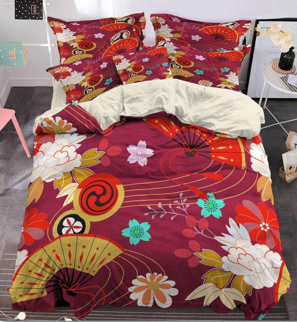 HOT Japan Style Duvet Cover Set  Bedclothes Bed Linen Sakura Printed Bedding Sets HOT Japan Style Duvet Cover Set  Bedclothes Bed Linen Sakura Printed Bedding Sets