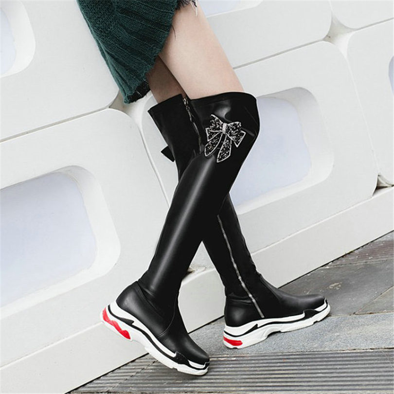 NAYIDUYUN Thigh High Boots Women Black White Over The Knee High Riding Booties Med Heel Tall Shaft Punk Sneaker Shoes Oxfords