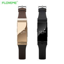 Floveme A5 Smart Leather Bracelet Watch + Earphone Heart Rate Monitor Bluetooth Wristwatch For iPhone Samsung Wearable Devices