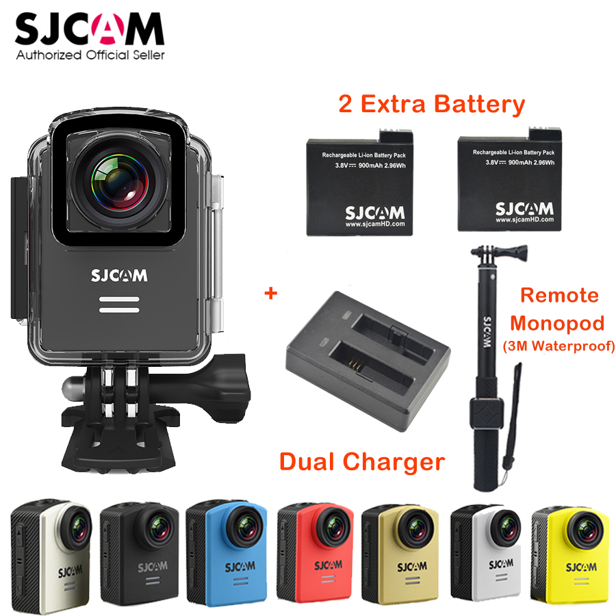 Original SJCAM M20 Wifi 4K 24fps 30M Waterproof Sports Action Camera Mini Cam Car DVR+2Extra Battery+Dual Charger+Remote Monopod original sjcam m20 wifi 4k 24fps 30m waterproof sports action camera sj cam dvr 2 extra battery dual charger remote monopod