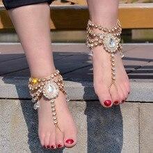 1pcs New Boho Vintage Anklet for Women Imitation Pearl Tassels Foot Barefoot Sandal Crystal Multilayer Anklet Beach Wedding