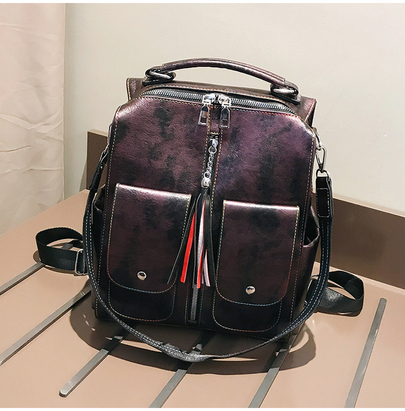 HTB1IaiOaorrK1RkSne1q6ArVVXa2 Retro Leather Women Backpack Zipper School Backpacks For Teenage Girls Bag Large Capacity Multifunction Mochila Feminina XA227H