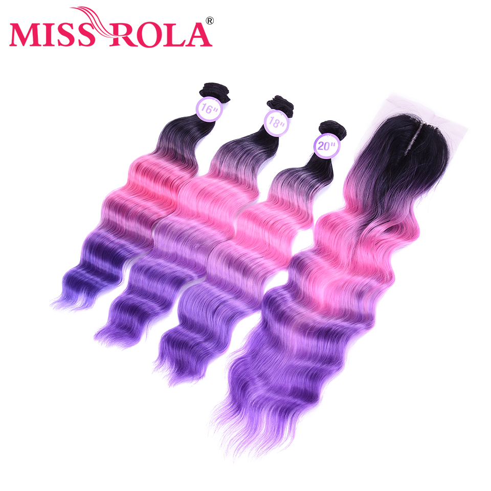 Miss Rola Deep Wave Bundles With Lace Closure Full Head Synthetic Hair Bundles With Closure Kanekalon Hair Extension(China)