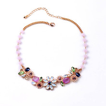 Women's Lady Pendant Charm Gold-color Flowers Necklace bijoux femme Jewelry Accessories Gifts