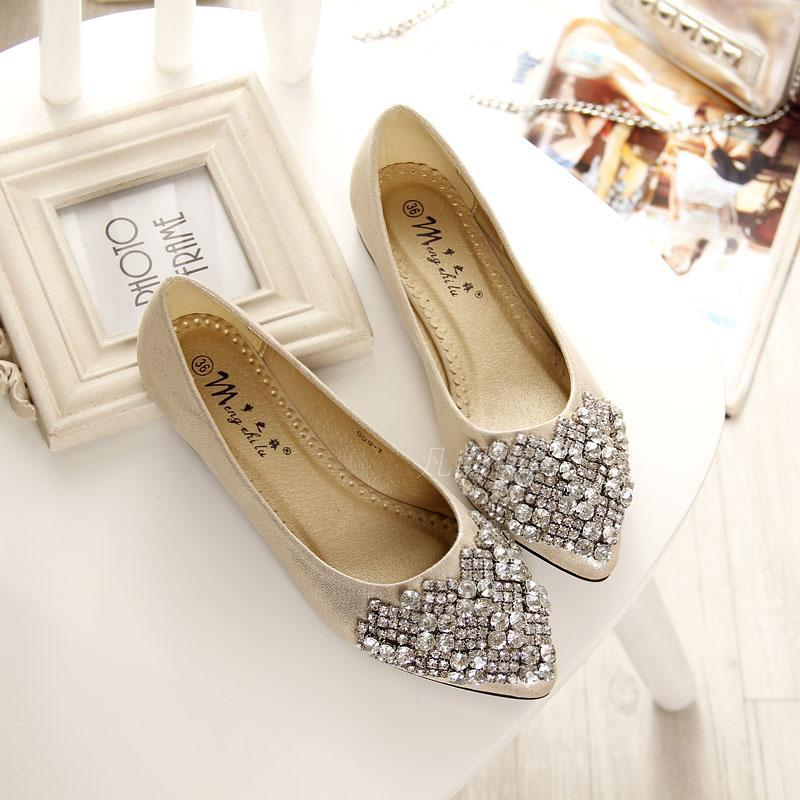 2016 new women s fashion casual shoes Princess ballet flat shoes woman crystal rhinestones flat shoes