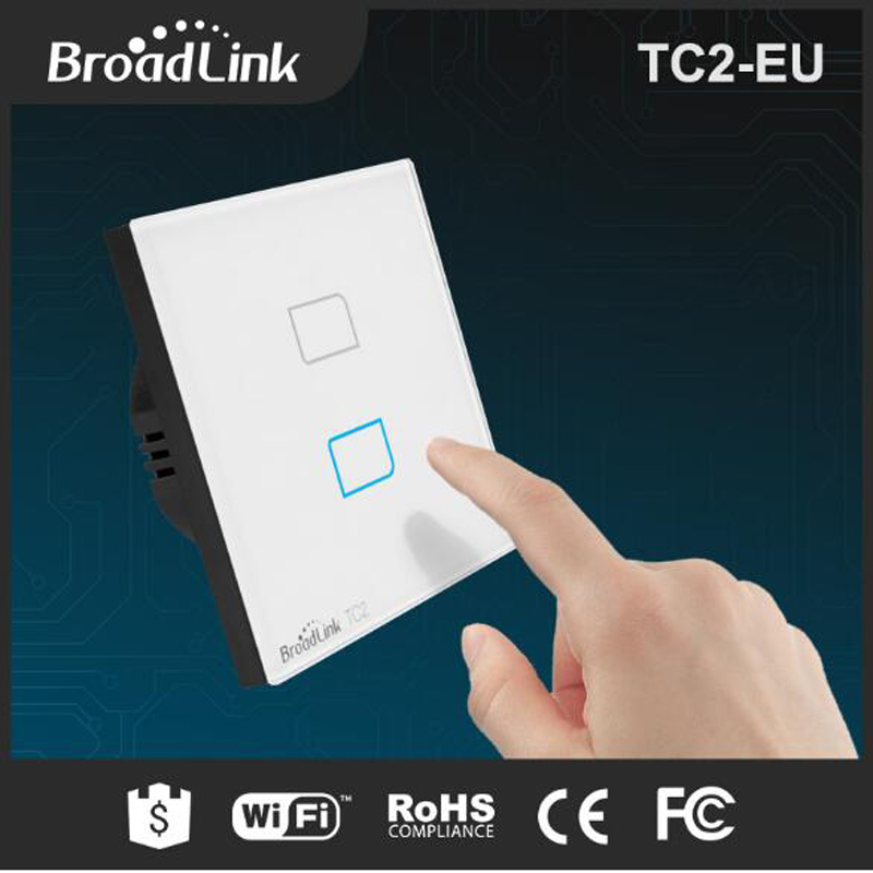 EU Broadlink TC2 2 gang Smart Switch, Network Wireless Remote Control Wall WiFi Light Touch Screen Smart Home WIFI Switch
