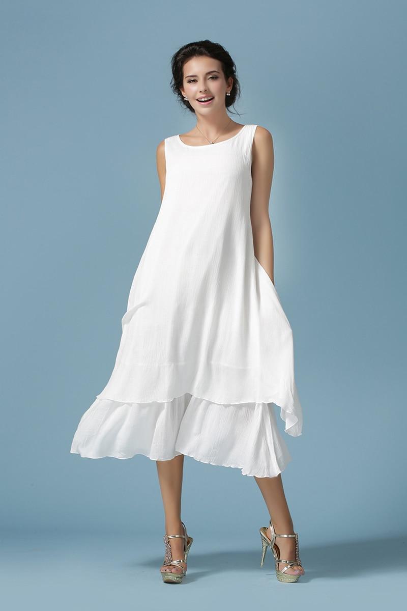 2016 women's casual white dresses slim soft cotton linen ...