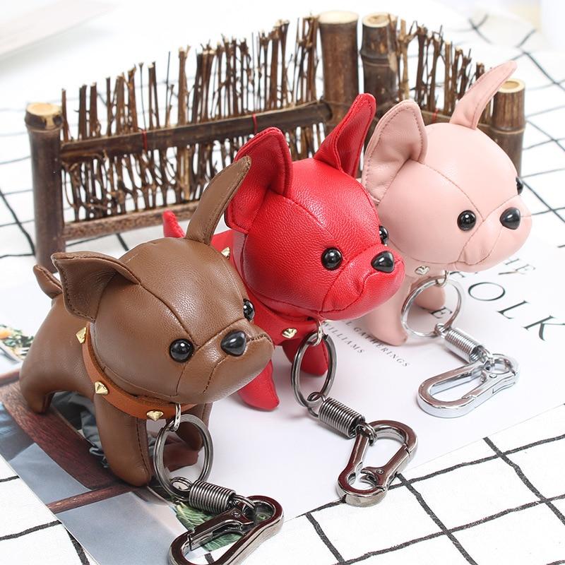 Cute Matador Charm key chain Leather Mini Coin Cards Keys Holder Purse Zipper Pocket Bag Keychain Lovers Gift Bags Dog Pendant