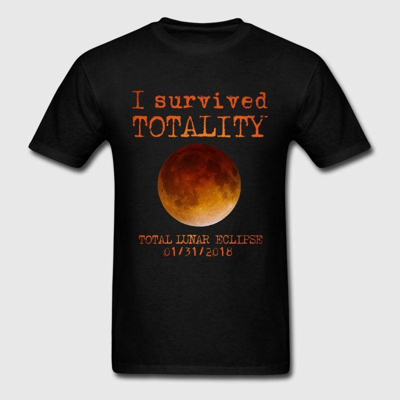 Lunar Eclipse I Survived Totality Mens Black Tees T-Shirt Clothing
